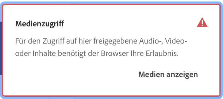 Aufruf Adobe Connect 11 Raum im Browser: Abfrage zu Medienzugriff