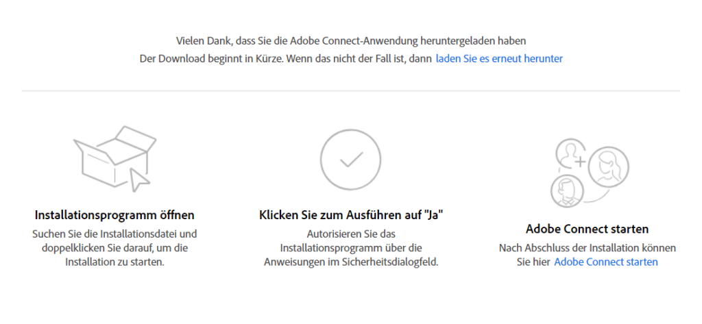 Download und Installationsschritte Adobe-Connect-App