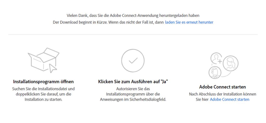 Download und Installationsschritte Adobe-Connect-App