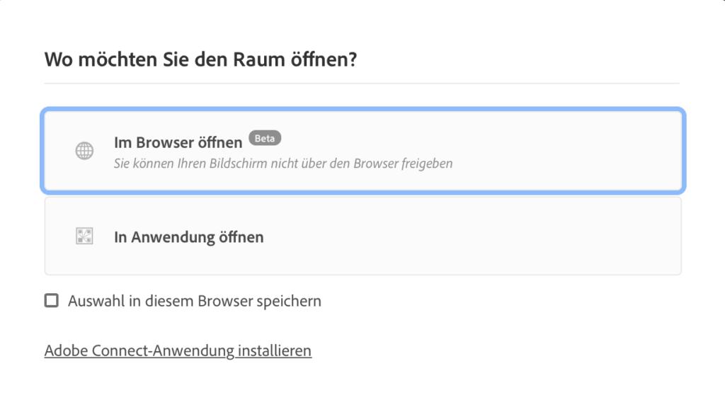 Login Adobe Connect 11: Abfrage Browser oder Anwendung