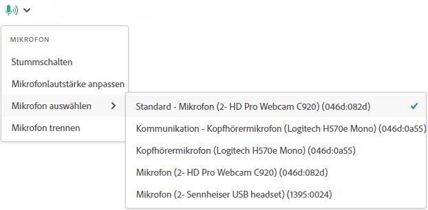 Adobe Connect 11 Auswahlmenü Mikrofon