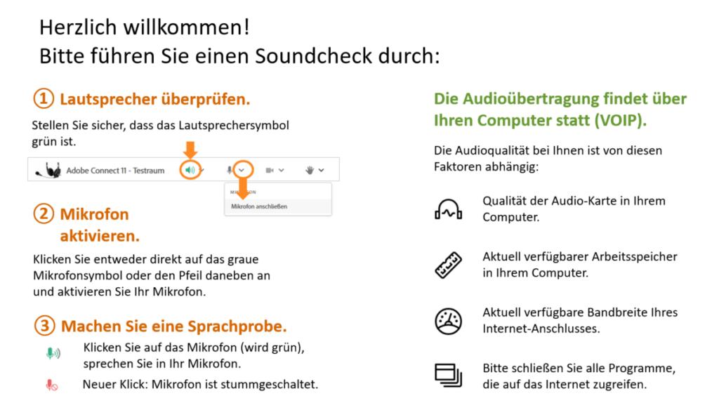 Hinweise für den Soundcheck nach Eintritt in einen Adobe-Connect-Raum