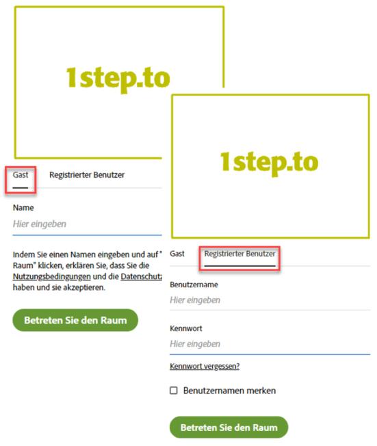 Login in Adobe-Connect-Raum: Zugang als Gast oder registrierter Nutzer